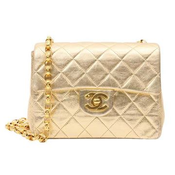 Chanel Quilted Leather Gold Mini Flap Bag