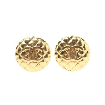 Chanel Round Quilted CC Mark Gold Tone Earrings
