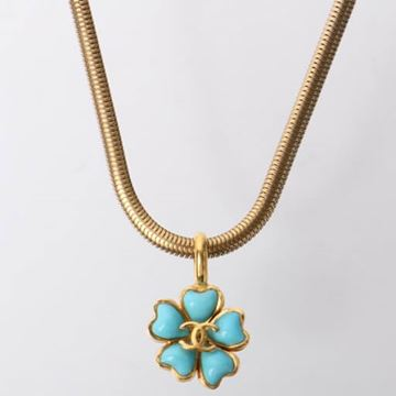 Chanel 1990s CC Mark Turquoise Glass Flower Necklace