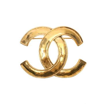 Chanel 1990s Large CC Logo Gold Tone Brooch
