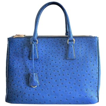 Prada Cobalt Blue Ostrich Leather 'Galleria' Crossbody Tote Bag