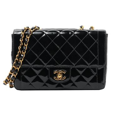 Chanel 1990s Quilted Patent Leather Black 23 cm Flap Bag