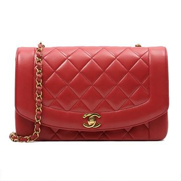 Chanel 1990s Quilted Leather Red 25 cm Diana Bag