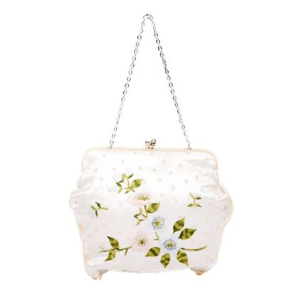 Vintage 1960s Beaded and Floral Embroidered Satin White Evening Bag