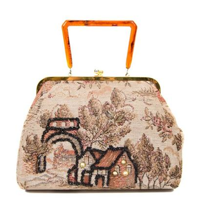 Vintage 1950s Tapestry Beige & Brown Handbag