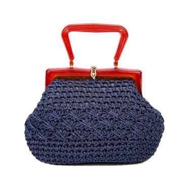 Vintage 1950s Knotted Crochet Style Blue Handbag