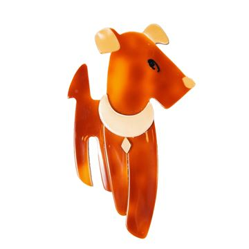 Lea Stein Ric the Terrier Caramel Brown Vintage Brooch