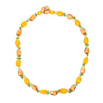 Vintage 1950s Pineapple Beaded Brown and Orange Necklace