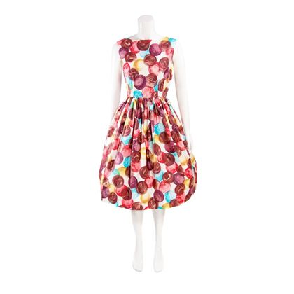 Vintage 1950s Painted Dot Print Multicoloured Midi Dress