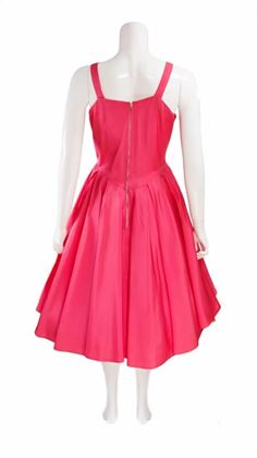 Vintage 1950s Full Skirted Deep Pink Midi Dress