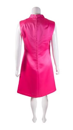 Vintage 1960s Rhinestone Neck Shocking Pink Mini Dress