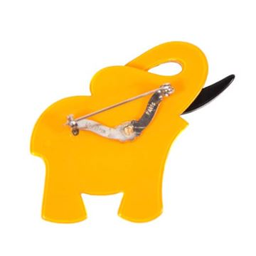 Lea Stein Elephant Yellow Plastic Brooch