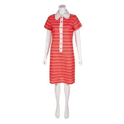 Vintage 1960s Red & White Striped Crimplene Dress