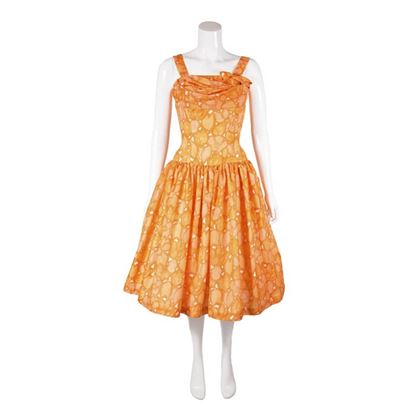 Vintage 1950s Full Skirted Floral Print Orange Dress