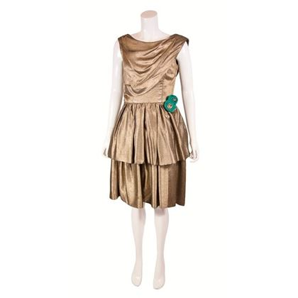 Vintage 1950s Tiered Cocktail Gold Cocktail Dress