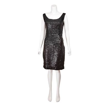 Vintage 1970s Black Sequin Cocktail Dress