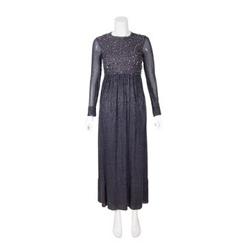 Vintage 1960s Long Sleeved Navy & Silver Evening Dress