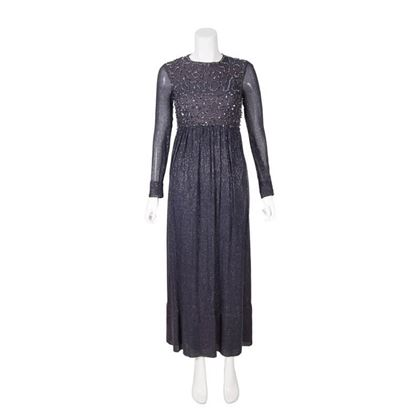 Vintage 1960s Navy & Silver Evening Dress