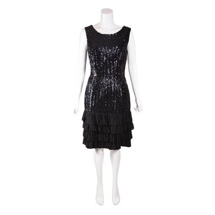 Vintage 1960s Black Sequin Flapper Style Dress