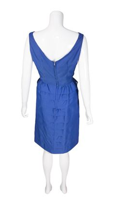 Vintage 1950s Tiered Sleeveless Blue Dress