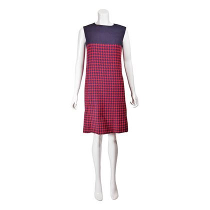 Vintage 1960s Houndstooth Check Red and Blue Mini Dress