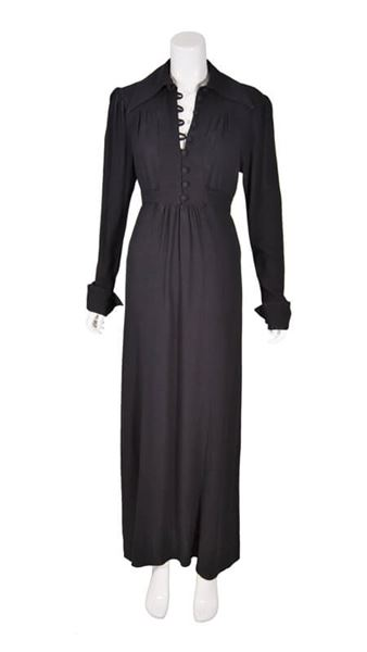 Vintage 1960s Black Moss Crepe Maxi Dress By Ossie Clark