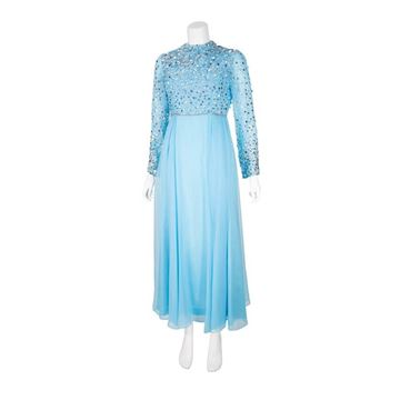 Vintage 1960s Sequinned Turquoise Blue Evening Dress