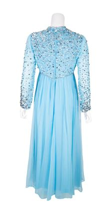 Vintage 1960s Turquoise & Silver Sequin Evening Dress
