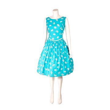 Vintage 1950s Squiggle Print White and Turquoise Dress