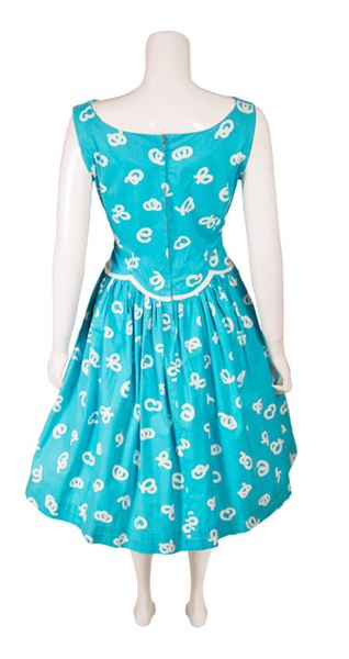 Vintage 1950s Turquoise & White Patterned Dress