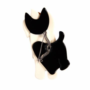 Lea Stein Moustache Dog Black and White Vintage Brooch