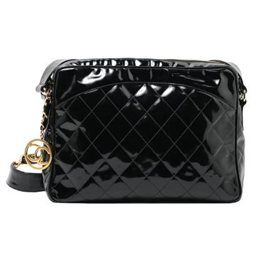 Chanel 1990s Quilted Patent Leather Zip Top Charm Bag