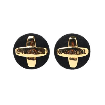Chanel Round Black Suede and Gold Tone Cross Earrings
