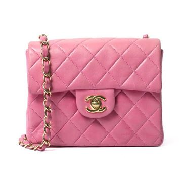Chanel 1990s Quilted Leather Pink Mini Flap Bag