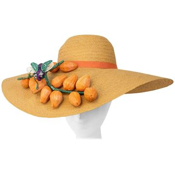 Vintage 1940s Fruit and Fly Embellished Straw Picture Hat