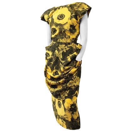 80s-black-and-yellow-ben-day-dots-print-dress