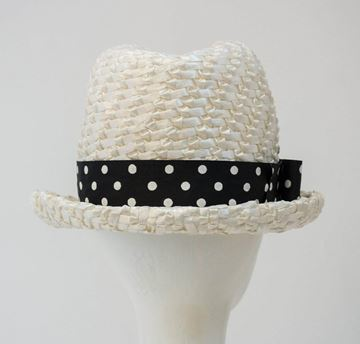 Vintage 1960s Polka Dot Band White Straw Trilby Hat