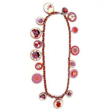 Chanel Very Rare Ladybug CC Logo Charm & Red Leather Chain Belt & Necklace
