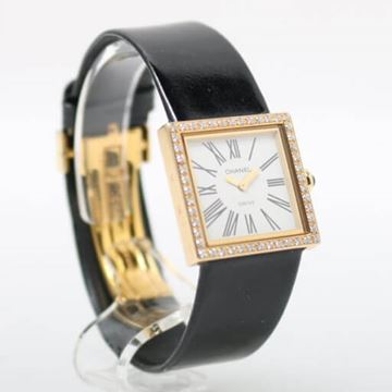 Chanel Black Patent 18K Diamond Watch