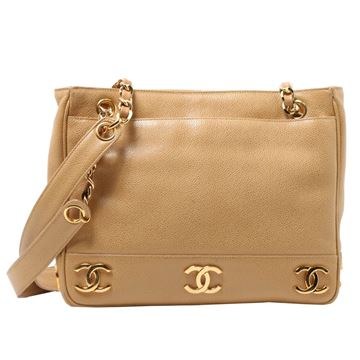 Chanel Caviar Leather CC Mark Beige Tote Bag