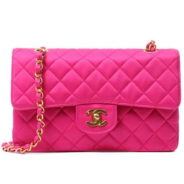 Chanel 1990s Quilted Silk Satin Pink Double Flap Bag