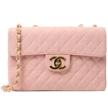 Chanel 1990s Quilted Cotton Pale Pink Maxi Flap Bag