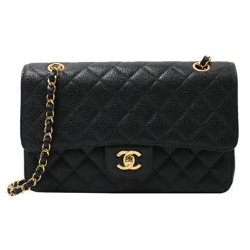 Chanel 1990s Caviar Leather Black Double Flap Bag