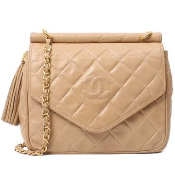 Chanel 1990s Quilted Leather Beige Bar Top Flap Front Bag