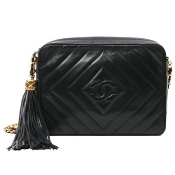 Chanel 1990s Diamond Pattern Quilt Black Camera Case Bag