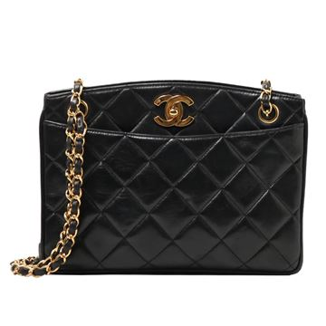 Chanel Turnlock Clasp Top Quilted Leather Black Shoulder Bag
