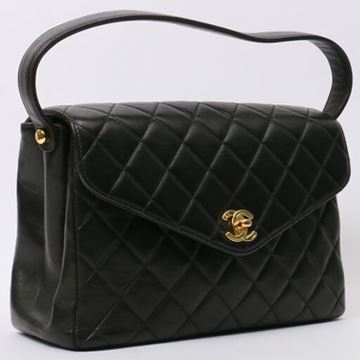 Chanel 1990s Quilted Leather Black Top Handle Flap Bag