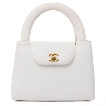 Chanel 1990s White Leather Top Handle Bag