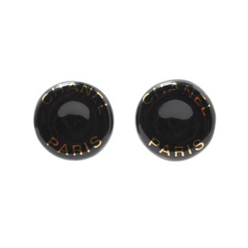 Chanel 1990s Round Black Vintage Earrings