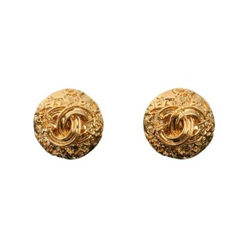 Chanel 1990s Beaten Texture Gold Tone Round Earrings
